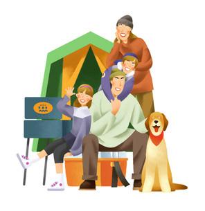 キャンプを楽しむ家族のイラスト素材 [FYI03052245]