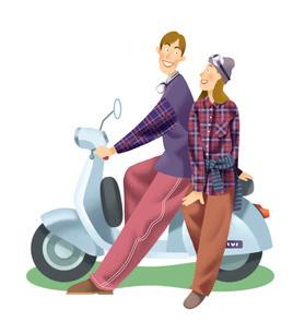 スクーターに乗るカップルのイラスト素材 [FYI03052250]