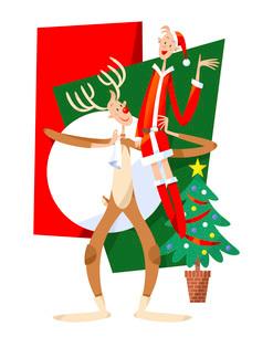クリスマスに仮装するカップルのイラスト素材 [FYI03052321]