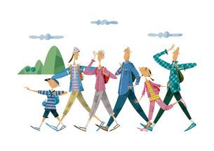 ハイキングをする三世代家族のイラスト素材 [FYI03052340]