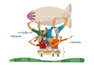 飛行船に乗る三世代家族のイラスト素材 [FYI03052341]