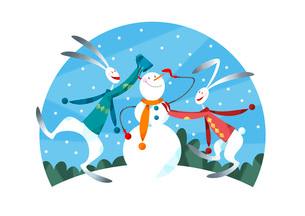 雪だるまを作るウサギのカップルのイラスト素材 [FYI03052355]