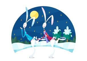 スケートをするウサギのカップルのイラスト素材 [FYI03052357]