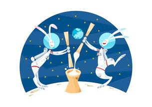 月で餅つきをするウサギのカップルのイラスト素材 [FYI03052370]