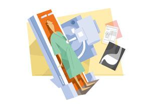 健康診断を受ける男性のイラスト素材 [FYI03052387]
