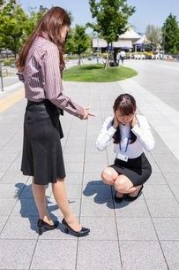 怒るビジネスウーマンと耳をふさぐビジネスウーマンの写真素材 [FYI03053988]