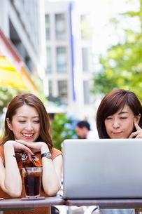 オープンカフェでパソコンを開く女性の写真素材 [FYI03054035]