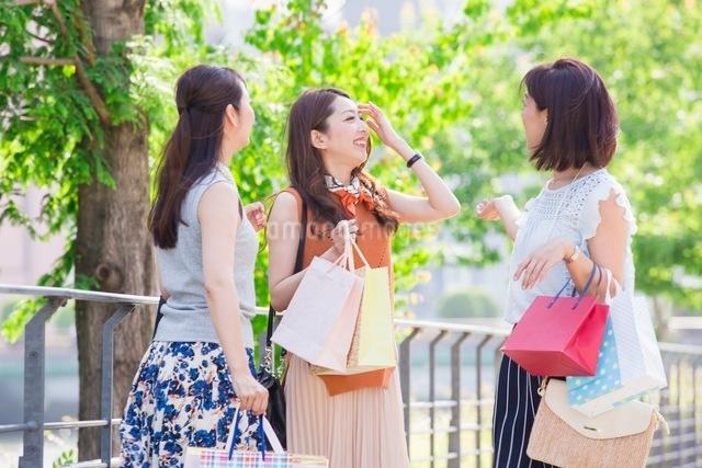 ショッピングバッグを持つ女性の写真素材 [FYI03054047]
