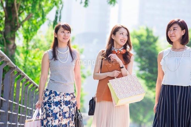 ショッピングバッグを持つ女性の写真素材 [FYI03054069]