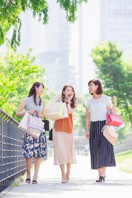 ショッピングバッグを持つ女性の写真素材 [FYI03054084]