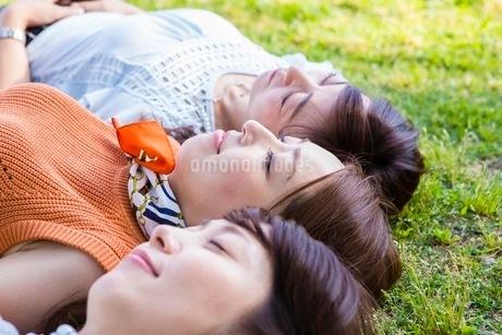 芝生に寝転ぶ女性の写真素材 [FYI03054096]