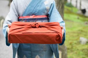 小包を持つ着物姿の女性の写真素材 [FYI03054503]