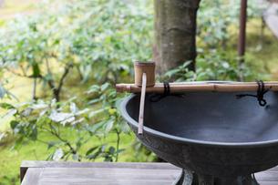 日本庭園と竹杓子の写真素材 [FYI03054661]