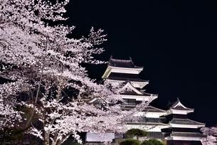 桜咲く松本城の写真素材 [FYI03055218]