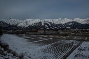 冷え込んだ朝の白馬村の写真素材 [FYI03056168]