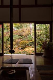 囲炉裏のある和室から望む秋の庭の写真素材 [FYI03056992]