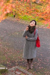 秋の京都を旅する女性の写真素材 [FYI03057202]