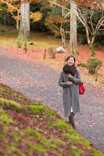 秋の京都を旅する女性の写真素材 [FYI03057203]