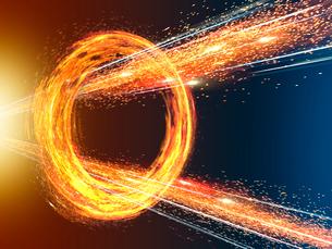 旋回する炎の輪を突き抜ける放射炎と光線の写真素材 [FYI03057629]