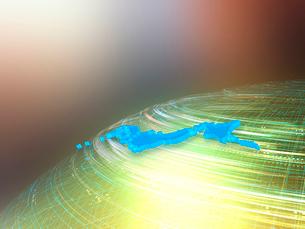 球体上を高速移動する光線と日本地図の写真素材 [FYI03057655]