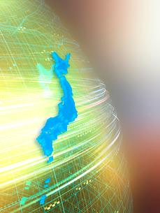 球体上を高速移動する光線と日本地図の写真素材 [FYI03057665]