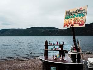 Shores of Loch Ness, sales booth with plastic figures ofの写真素材 [FYI03059751]