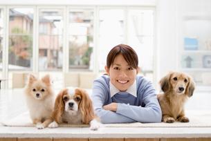 女性と3匹の犬の写真素材 [FYI03059990]