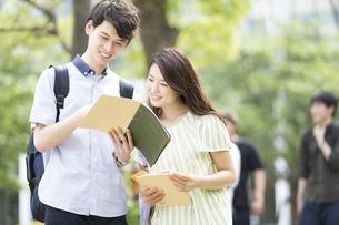 ノートを見る学生の男女の写真素材 [FYI03060023]