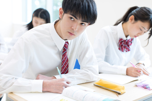 授業を受ける男子高校生の写真素材 [FYI03060046]