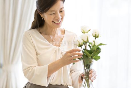 花を生ける女性の写真素材 [FYI03060049]