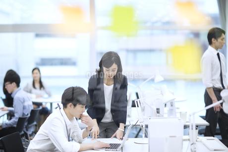 打ち合わせをする男女のビジネスマンの写真素材 [FYI03060139]