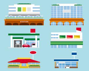 駅ビル、ガソリンスタンド、ファミレス、デパート、スーパーマーケット、コンビニのイラスト素材 [FYI03060168]