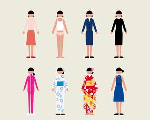 成人女性(いろいろな服装)のイラスト素材 [FYI03060230]