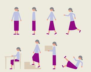 シニア女性(いろいろな行動)のイラスト素材 [FYI03060259]