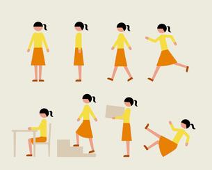 ティーン女子(いろいろな行動)のイラスト素材 [FYI03060264]