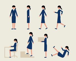 ビジネス女性(いろいろな行動)のイラスト素材 [FYI03060276]