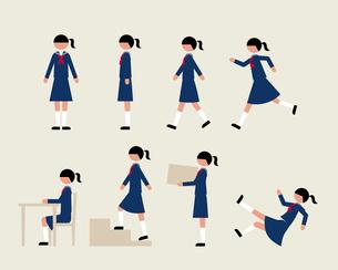 セーラー服の女子(いろいろな行動)のイラスト素材 [FYI03060292]