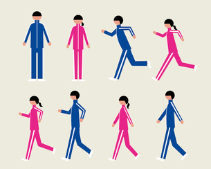 ジャージの男女(歩く・走る)のイラスト素材 [FYI03060295]