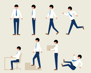 シャツ姿のビジネスマン(いろいろな行動)のイラスト素材 [FYI03060303]