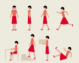 半袖の成人女性(いろいろな行動)のイラスト素材 [FYI03060308]