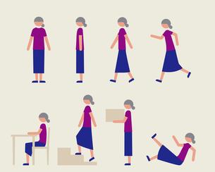 半袖のシニア女性(いろいろな行動)のイラスト素材 [FYI03060312]