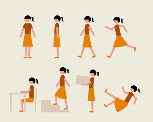半袖のティーン女子(いろいろな行動)のイラスト素材 [FYI03060317]