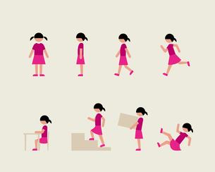 半袖の女の子(いろいろな行動)のイラスト素材 [FYI03060319]