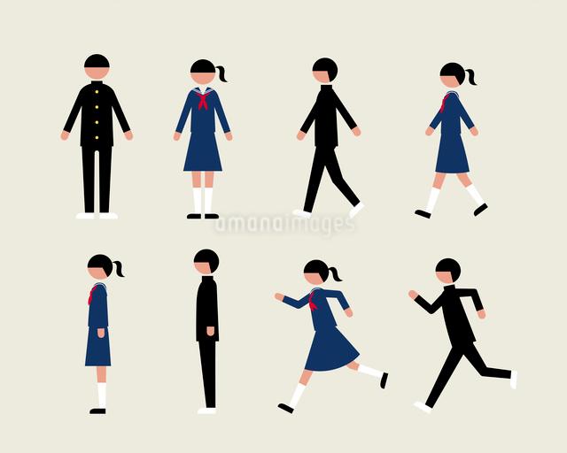 学ラン・セーラーの学生(歩く・走る・横)のイラスト素材 [FYI03060347]