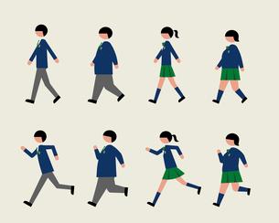 ブレザー服の学生(歩く・走る)のイラスト素材 [FYI03060386]