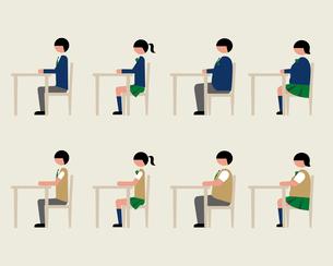 ブレザー服の学生(イスに座る)のイラスト素材 [FYI03060388]