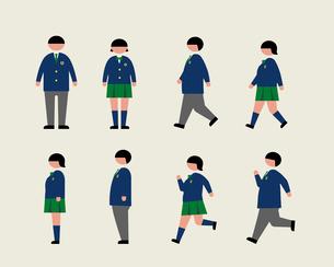 肥満の学生(歩く・走る・横)のイラスト素材 [FYI03060389]