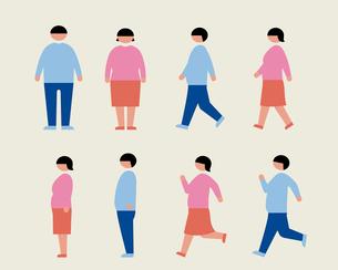 肥満の男女(歩く・走る・横)のイラスト素材 [FYI03060390]