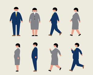 肥満のビジネスマン(歩く・走る・横)のイラスト素材 [FYI03060400]