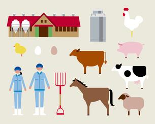 畜産業者と動物のイラスト素材 [FYI03060401]